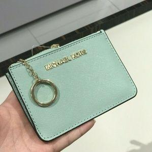 Michael Kors Jet Set Coin Key Chain Wallet Jade